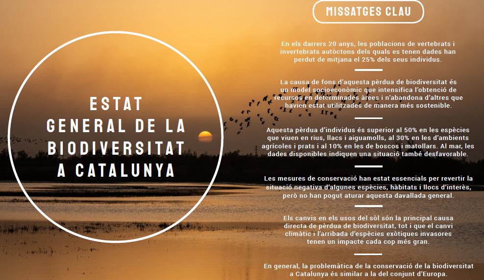 Missatges clau de l'estat general de la biodiversitat a Catalunya, informe del 2020