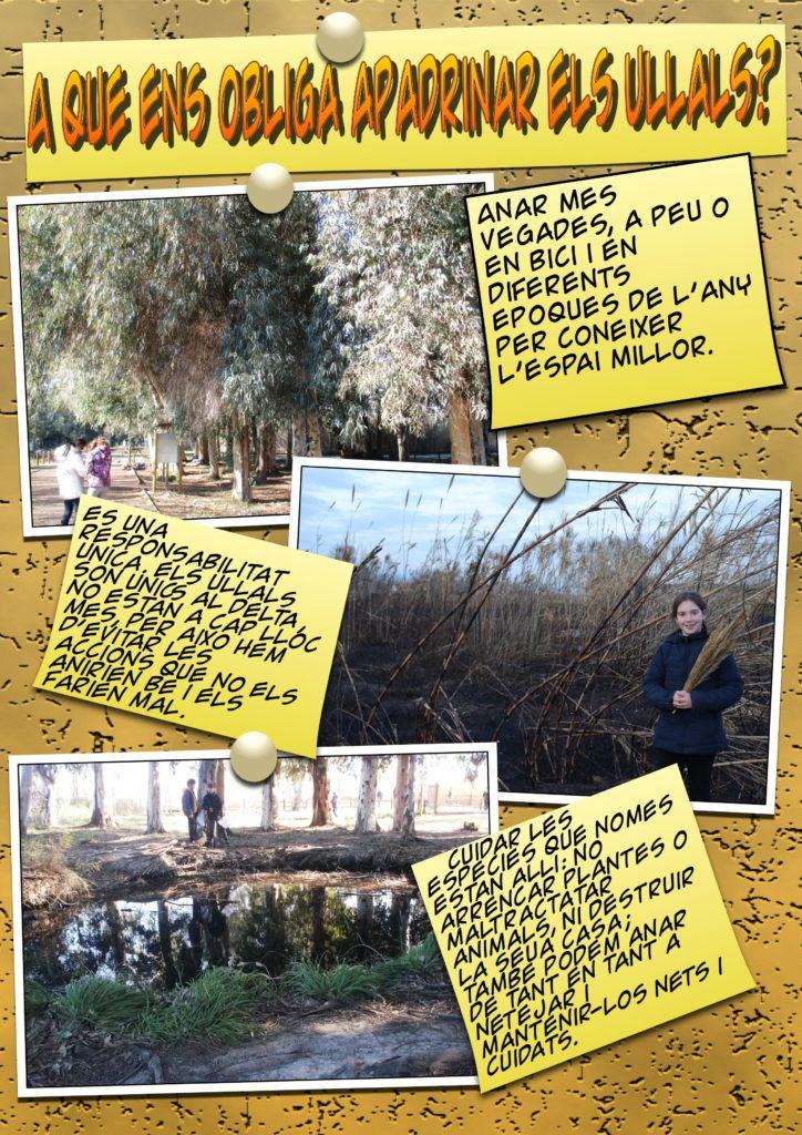 Fotos d'alumnes als Ullals explicant a què els obliga apadrinar aquest espai natural